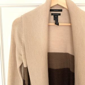 Tahari open-front color-block cardigan